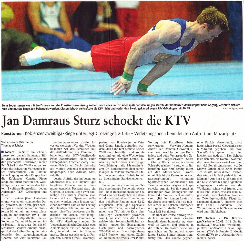 """[RZ: 10.11.14] """"Jan Damraus Sturz schockt die KTV"""""""