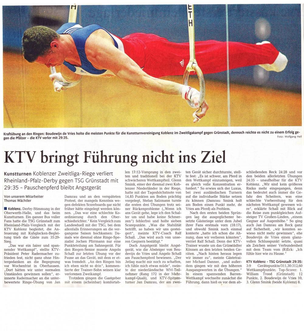 """[RZ: 20.10.14] """"KTV bringt Führung nicht ins Ziel"""""""