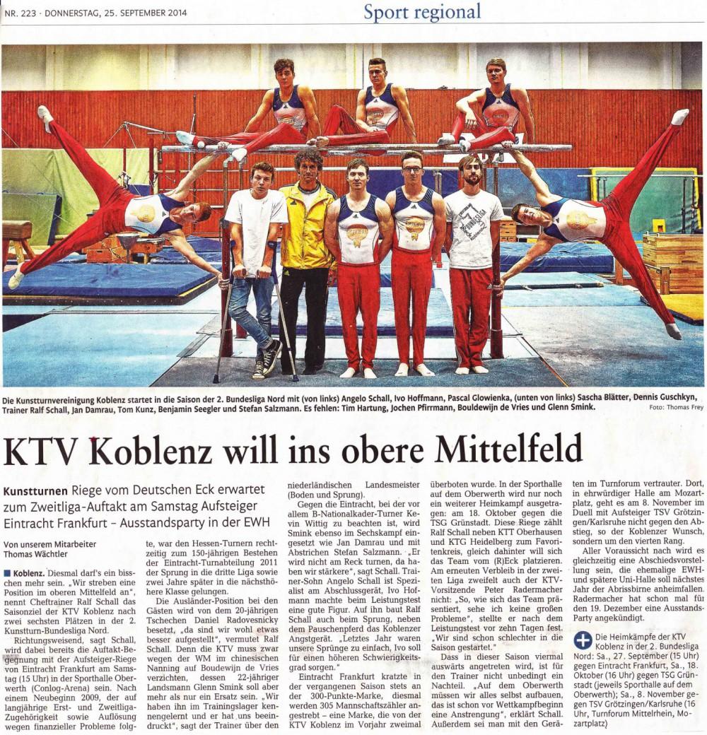 """[RZ: 25.09.14] """"KTV Koblenz will ins obere Mittelfeld"""""""