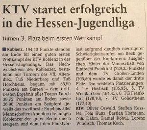 """[RZ: 12.03.15] """"KTV startet erfolgreich in die Hessen-Jugendliga"""""""