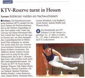 """[RZ: 08.03.14] """"KTV-Reserve turnt in Hessen"""""""